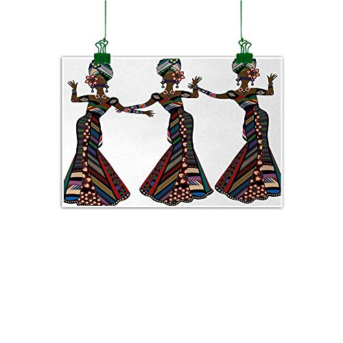 Unpremoon African Woman Wall Painting Young Women in Stylish Native Costumes Carnival Festival Theme Dance Moves Living Room Wall Decor Multicolor W 47