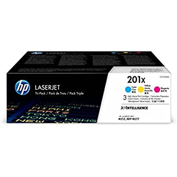 HP 201X Toner Cartridge Cyan, Yellow & Magenta High Yield, 3 Toner Cartridges (CF401X,CF402X, CF403X) for HP Color LaserJet Pro M252dw, M277, M277c6, M277dw