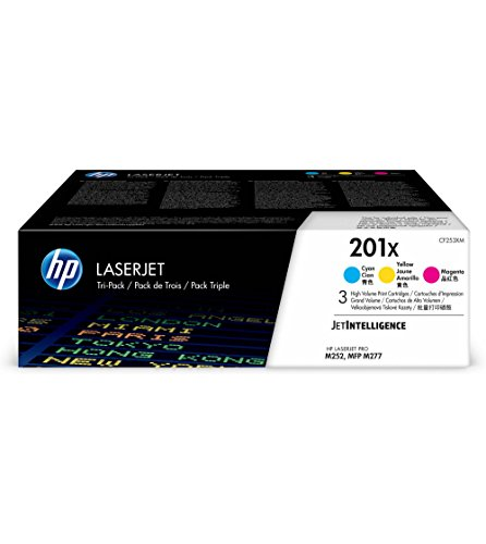Hewlett Packard Color Laserjet - HP 201X Toner Cartridge Cyan, Yellow & Magenta High Yield, 3 Toner Cartridges (CF401X, CF402X, CF403X) for HP Color LaserJet Pro M252dw M277 MFP M277c6 M277dw MFP 277dw