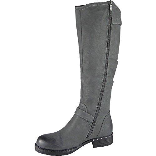 Zip Knee Low Size Ladies Shoes Stud Biker Grey 8 3 High Boots Buckle Long Heel q04n8ndWgT