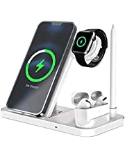 Wireless Charger Stand Charging Station Compatible with Apple Watch 6/SE5/4/3/2,Airpods,iPhone 11 Pro/11 Pro Max/XS/X/XR/8,Fast Wireless Charging Dock for Galaxy S20/S10/S9/S8/Note 10 and More