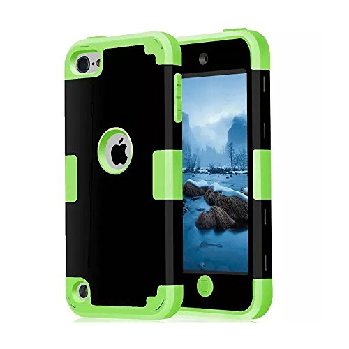 iPod Touch 5th Generation case, CheerShare iPod touch 5 Dual Layered 2in 1 Hard PC Case Silicone Shockproof Heavy Duty High Impact Armor Hard Case for Apple iPod touch 6th Generation (black+green) - Ipod 5th Generation Black Case