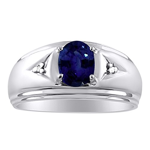 Mens Classic Genuine Sapphire & Diamond Ring Set in Sterling Silver .925 September Birthstone by Rylos