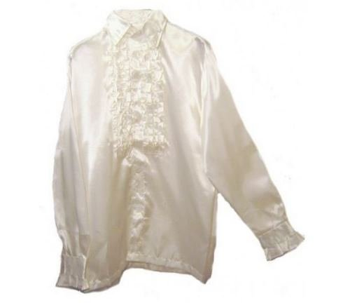 1960s Inspired Fashion: Recreate the Look 70s 60s Disco Frill Fancy Dress Shirt WHITE One Size $26.99 AT vintagedancer.com
