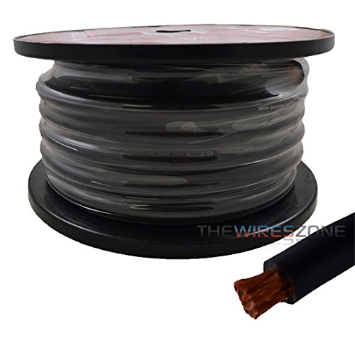 1/0 AWG Gauge 50ft 100% Copper Flexible Power Ground Wire Cable True Spec Black