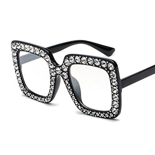 Pickin Classic square full of diamonds face small glasses fashion Fannet red diamond-encrusted sunglasses,Black flat light C2