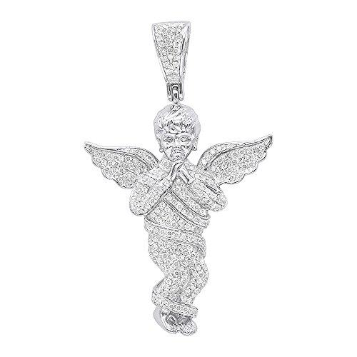 (Mens 10K Rose, White or Yellow Gold Diamond Baby Angel Pendant 1.3ctw (White Gold))