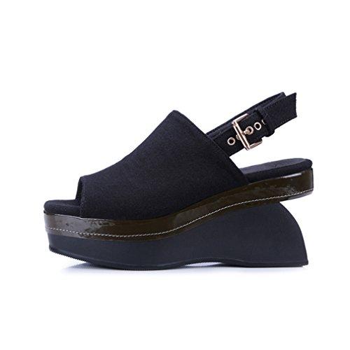 ENMAYER Womens Flock überstreifen Schnall Quadratische Zehe Schuhe Für keilabsatz  Sommer Beiläufige Art und Weise Sandalen ...