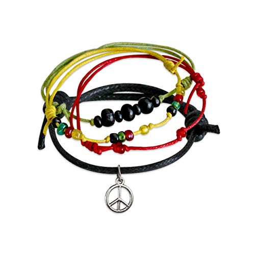 (O Yeah Gifts Peace Bracelet 4 Stackable Cord Bracelets Adjustable Jewelry Set with Black Wood Beads Rasta Jamacian Red Yellow Green Glass Beads and Humble Silver Peace Charm)
