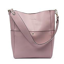 Bostanten Women S Leather Designer Handbags Tote Purses Shoulder Bucket Bags Taro Pink