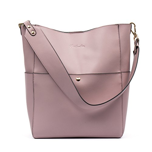 (BOSTANTEN Women's Leather Designer Handbags Tote Purses Shoulder Bucket Bags Taro Pink)