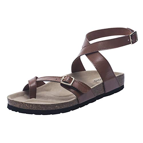 FITORY Womens Flat Sandals Toe Loop Cork Thong with Ankle Strap Comfort Outdoor Shoes Brown