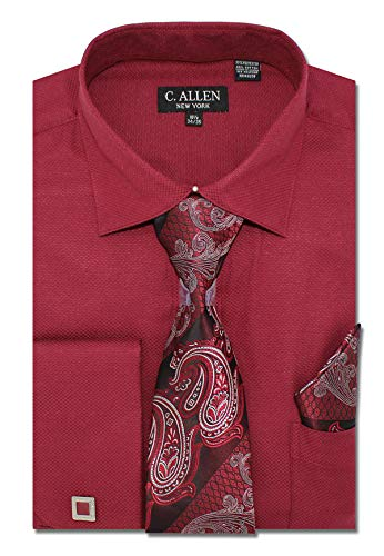 C. Allen Men's Solid Square Pattern Regular Fit French Cuffs Dress Shirts with Tie Hanky Cufflinks Combo Wine