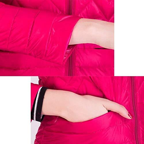 Rojo Es Moda Mujer Elegantes Pluma Talla Oscuro Chaqueta Jacket Ultraligero Plumas Larga Grande Stand Cuello Joven Acolchada Unicolor Manga Invierno Screenes xU8w01qnHw