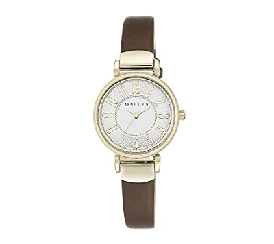 Anne Klein Two-Tone Brown Leather Strap Watch