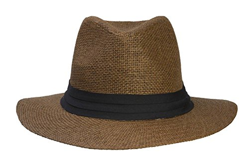 Fashion Style Banded Wide Brim Fedora Hat, Brown (Banded Straw Fedora Hat)