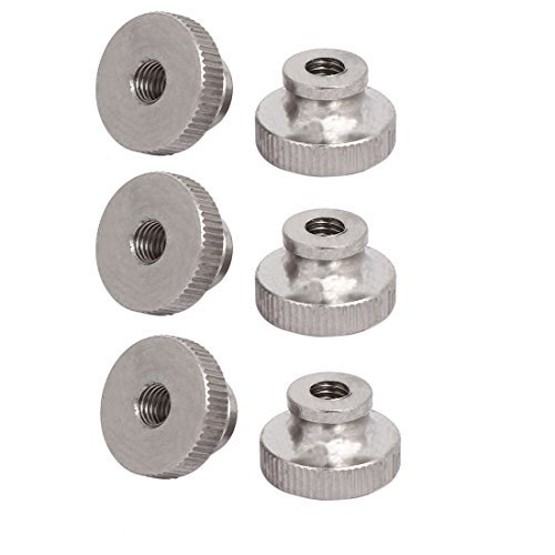 M6 304 Stainless Steel Leveling Knurled Nut Bra Silver Tone 6pcs
