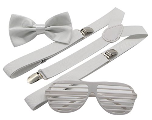 JAIFEI Plastic Shutter Shades Glasses + Adjustable Suspenders + Bow tie Set For Costume Parties Props (All White Party Outfits Men)