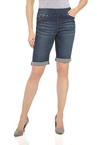 Rekucci Women's Ease In To Comfort Fit Stretch Jean Bermuda Short W/Cuff (10,Dk Wash (Capri Pull On Shorts)
