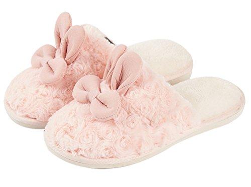 Cattior Kvinna Söta Varma Kaninhäftklammermatare Fluffiga Tofflor Rosa