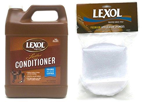 Lexol Leather Conditioner, 3 liter with Microfiber Sponge Applicator Pad 2 Pack Bundle