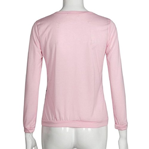 Tongshi Moda Mujer Leopardo de impresión de manga larga Casual camiseta floja remata la blusa rosa