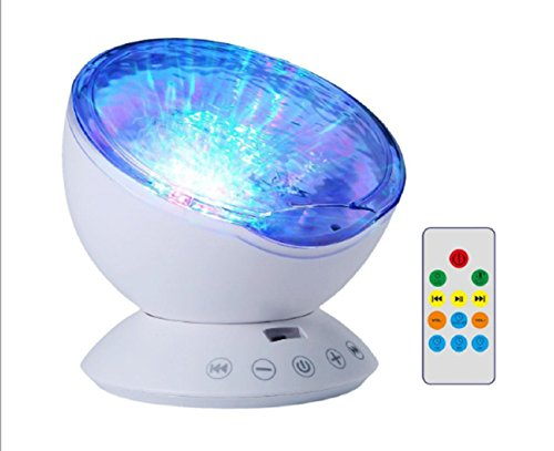 LED Projection Light,Remote Control Ocean Wave Projector Night Lamp with Music Player for Baby Children Nursery Adults Kids Party Christmas Gift(White)]()