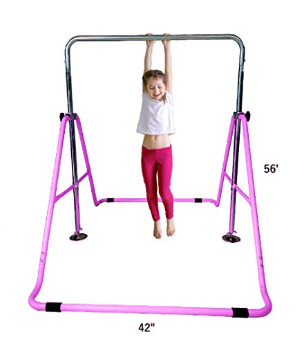 - Kids Jungle Gymnastics Expandable Junior Training Monkey Bars Climbing Tower Child play Training Gym Pink