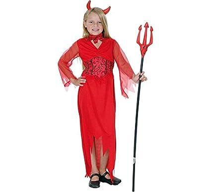 Disfraz de Diablesa Roja manga de Tul para niña: Amazon.es ...