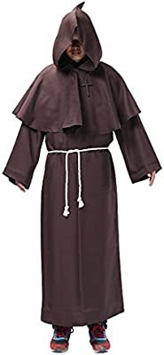 Traje Fraile Medieval Encapuchado Monje Sacerdote Ropa para Disfraz Cosplay Rojo/Café - Café, L