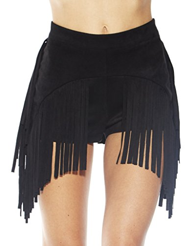 [iHeartRaves Festival Fringe Suede High Waisted Rave Booty Shorts (Large)] (90s Theme Party Outfits)