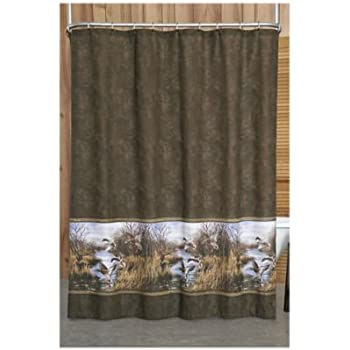 Mallard Ducks Fly In Sky Polyester Bathroom Shower Curtain 60Wx72H