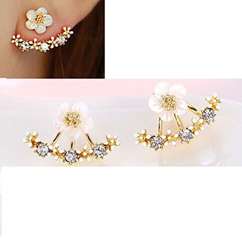 Usstore 20Pair Women's Beautiful Flower Crystal Stud Earrings Jewelry Gift (Gold) (20ct Princess Cut Diamond)