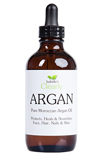 Isabella's Clearly ARGAN Oil for Hair, Skin, Face, Nails - Best100% Pure Premium Moroccan Oil - Anti Aging, Anti Wrinkle, Nourishing Cold Pressed Moisturizer. 4 Oz. from Isabella's Clearly