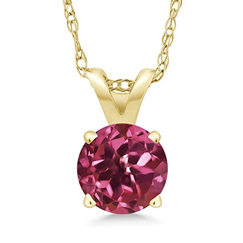 (Gem Stone King 0.50 Ct Round Pink Tourmaline 14K Yellow Gold Pendant With Chain)