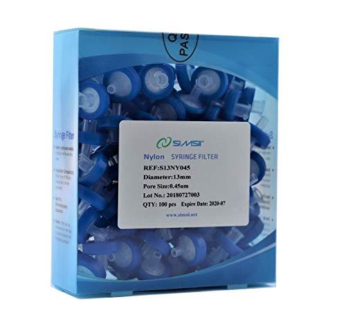 - Simsii Syringe Filter, Nylon, Diameter 13 mm, Pore Size 0.45 um, Pack of 100