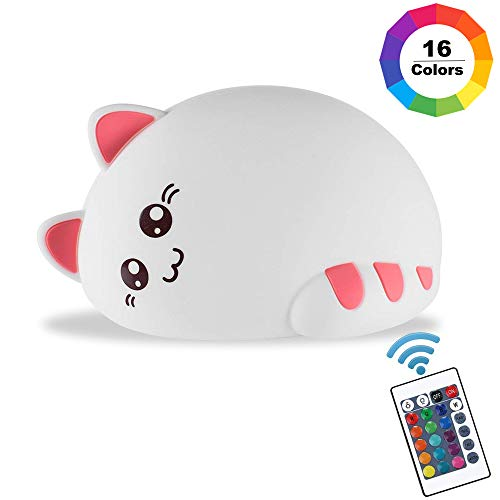 Kids Night Light Kitty Cat Silicone Lamp Soft Touch with Tap Control & Remote Rechargeable Portable Dimable 16 Colors Changing, Gift for Boys/Girls Infant - Light Kitty Night