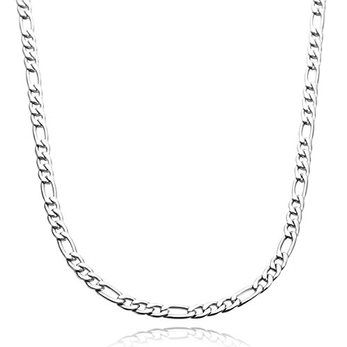 MOWOM Silver Tone 5.0mm Wide Stainless Steel Necklace Figaro Chain Link 14~40 Inch ca5070009-5.0-14