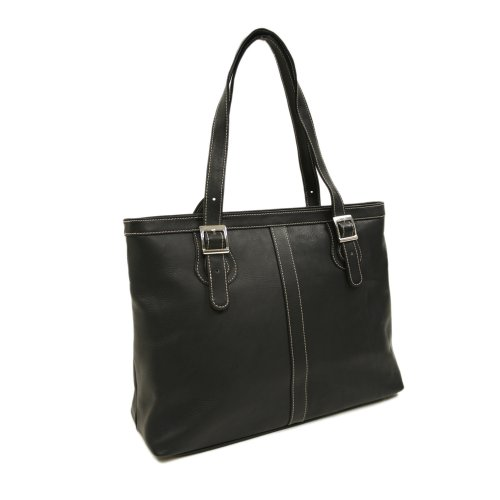 Piel Leather Ladies Laptop Tote, Black, One Size by Piel Leather