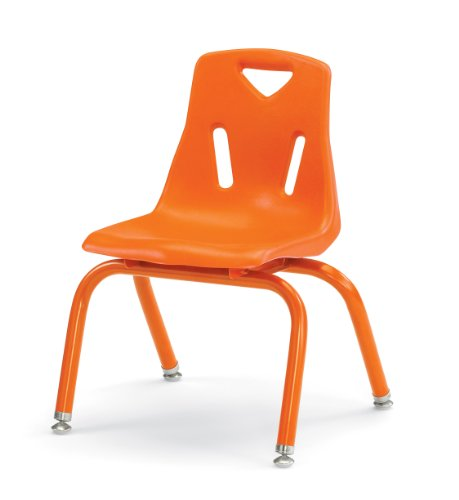 "Berries 8122JC1114 Stacking Chair with Powder-Coated Legs, 12"" Height, Orange"