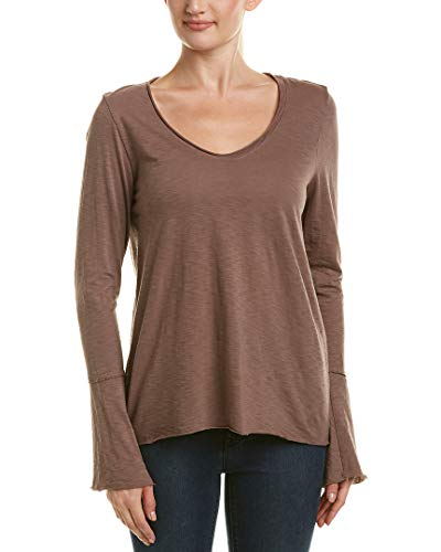 Michael Stars Women's Cotton Supima Soft V-Neck with Bell Sleeve Quicksand One Size