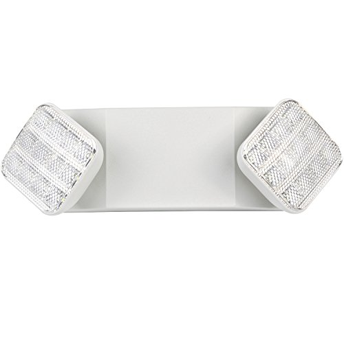 Hykolity Two Head LED Adjustable Wall-Mount White Emergency Light Fixture with Battery Back-up