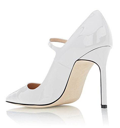 High White Toe Heel with Shoe Pumps Sammitop Jane Strap Women's Mary Pointed Ankle 0nafa7Y