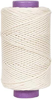 Crafteza Macrame Cord 6mm X 200 yd Single Strand Bulk Knotting Rope About 600 ft Natural Virgin Cotton Handmade Decorations Macrame Wall Hangings Plant Hanger Bohemian Wedding Backdrops