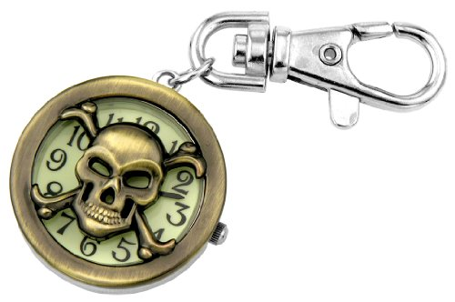 Skull Key Fob (JAS Unisex Novelty Belt Fob/Keychain Watch Skull Bronze Tone)