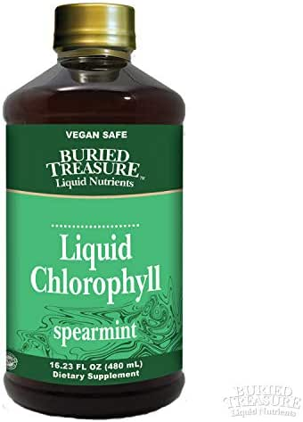 Buried Treasure: Liquid Chlorophyll | All Natural 100 mg Chlorophyll | Energy Boost, Immune Support & Detox | Intestinal & Digestive Support | Natural Body Deodorant | Alcohol Free Spearmint 16oz