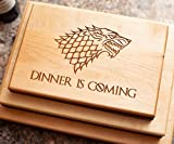 Game of Thrones Cutting Board - Fathers Day Gift - Game of Thrones Gift, Game of Thrones Merchandise, Boyfriend Gift, Maple Wood Cutting Board made in the USA - Winter is Here, Dinner is Coming