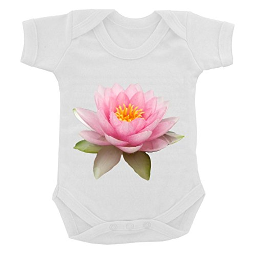 Lotus Flower Image on White Baby Bodysuit