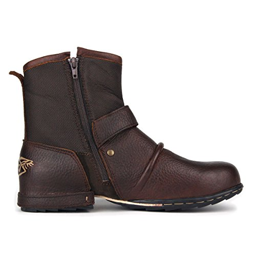 Zapatos Martin Invierno Combate Planas Hombre Forradas Piel OZ Moto para Nieve 1 Calientes 5008 Marrón Militares Botas Botines Boots wxO4gFX4q