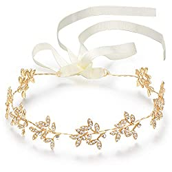Crystal Bridal Headband With Silver Rhinestones Gold Color